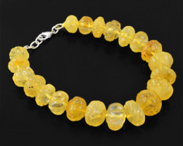 Genuine 271.75 Cts Yellow Citrine Carved Beads Bracelet