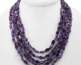Genuine 460 Cts Purple Amethyst 5 Line Beads Necklace