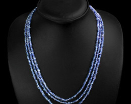 Genuine 117.00 Cts 3 Line Blue Tanzanite Beads Necklace