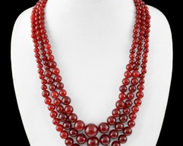 Genuine 637.05 Cts Red Onyx 3 Line Round Beads Necklace
