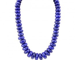 Genuine 1400.00 Cts Blue Lapis Lazuli Beads Necklace