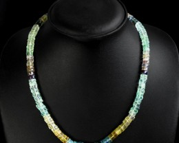 Genuine 220.50 Cts Multicolor Flourite Beads Necklace