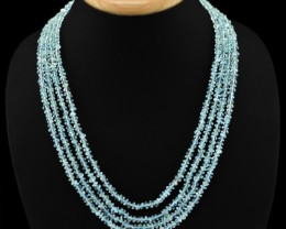 Genuine 287.50 Cts 4 Line Blue Aquamarine Beads Necklace