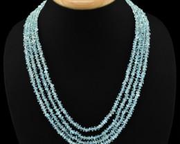 Genuine 287.50 Cts 4 Line Blue Aquamarine Beads Necklace