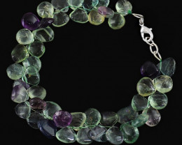 Natural 175.70 Cts Multicolor Flourite Untreated Beads Bracelet