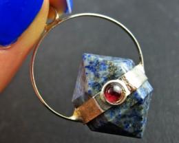 Terminated Point Lapis lazuli  n Garnet Pendant BU 694
