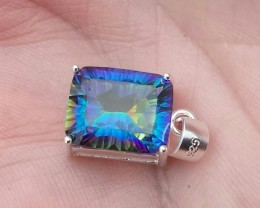 EMERALD CUT MYSTIC TOPAZ CAST IN SS 925