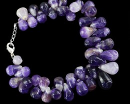Genuine 265.80 Cts Purple Amethyst Beads Bracelet