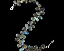 Genuine 101.00 Cts Flash Labradorite Beads Bracelet