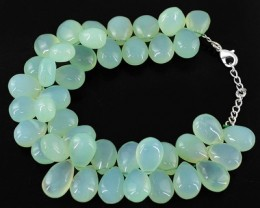 Genuine 350.65 Cts Green Chalcedony Beads Bracelet