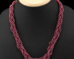 Genuine 270.00 Cts Red Garnet Beads Necklace