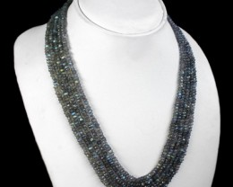 Genuine 315.00 Cts Blue Labradorite 5 Line Beads Necklace