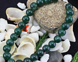 Genuine 150.00 Cts Green Jade Round Beads Bracelet
