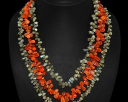 Genuine 625.75 Cts Labradorite & Carnelian 3 Line Beads Necklace