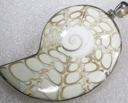 BEAUTIFUL SHELL SILVER SHELL PENDANT 90  CTS  ADJ-145