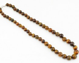 Genuine 347.35 Cts Golden Tiger Eye Beads Necklace