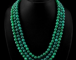 Genuine 713.10 Cts Green Jade 3 Line Round Beads Necklace