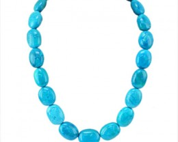 New Collection : Genuine 1012.00 Cts Turquoise Unheated Oval Beads Necklace