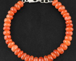 Genuine 137.95 Cts Orange Carnelian Beads Bracelet