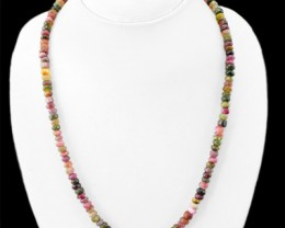 Genuine 189.20 Cts Watermelon Tourmaline Beads Necklace