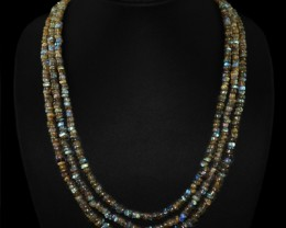 Flash Labradorite 3 line beads NEcklace