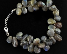 Genuine 272.20 Cts Labradorite Beads Bracelet