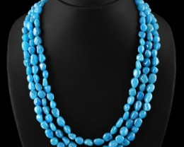 Genuine 535.00 Cts Blue Apetite 3 Line Beads Necklace