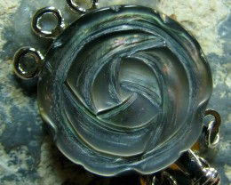 SHELL FLOWER CARVING BEAUTIFUL ROUND TRIPLE STRAND CLASP