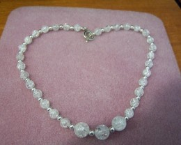 STUNNING CRACKLE QUARTZ & STERLING SLIVER NECKLACE 203.45CTW