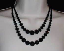 LOVELY BLACK BEAD & CRYSTAL NECKLACE & EARRING SET