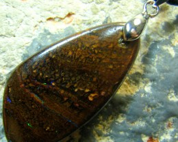 AUSSIE BOULDER OPAL PENDANT ON CORD READY TO WEAR 29.55 CTS
