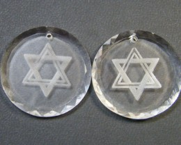 HIGH CLASS CRYSTAL STAR OF DAVID PENDANTS 66.75 CTS SGS  724