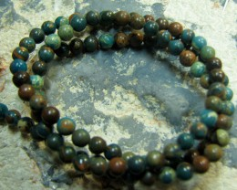 SINGLE BLUEGREEN IMPRESSION JASPER ROUND STRAND OF BEADS 4MM
