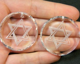 LARGE HIGH CLASS CRYSTAL STAR OF DAVID PENDANT 108CT SGS 736