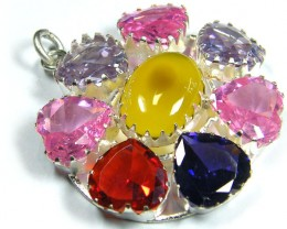 LARGE NATURAL N CZ MULTI GEMSTONE  PENDANT   ST 323