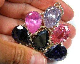 LARGE NATURAL MULTI GEMSTONE N CZ  PENDANT   ST 329