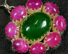 OLD STYLE  RUBY AND EMERALD PENDANT 81.5 CTS  ST 711