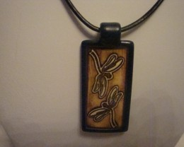 PORCELAIN DRAGONFLY PENDANT ON BLACK LEATHER CORD
