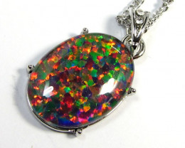 Stunning Large  Man made opal pendant CSS 178