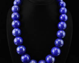 Genuine Blue Lapis Lazuli Round Beads Necklace