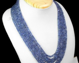 Genuine 340.00 Cts Blue Tanzanite 7 Line Beads Necklace