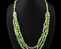 Genuine 320.00 Cts Rare Green Peridot Beads Necklace