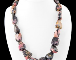 Genuine 1065.00 Cts Pink Rhodonite Faceted Beads Necklace
