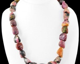 Genuine 765.00 Cts Rhodonite Faceted Beads Necklace