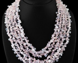 Genuine 720.00 Cts 5 Line Pink Rose Quartz Beads Necklace
