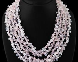 Genuine 720.00 Cts 5 Line Pink Rose Quartz Beads Necklace