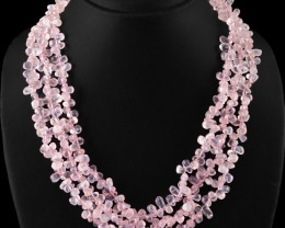 Genuine 505.00 Cts 3 Line Pink Rose Quartz Beads Necklace