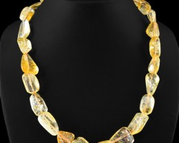 Genuine 460.00 Cts Yellow Citrine Untreated Beads Necklace