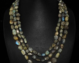 Genuine 675.00 Cts 3 Line Blue Labradorite Faceted Beads Necklace