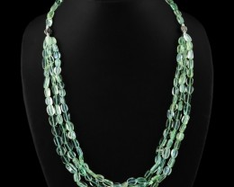 Genuine 300.00 Cts Green Flourite Beads Necklace